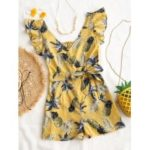 V Neck Pineapple Print Romper