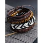 Wooden Faux Leather Hand Woven Friendship Bracelets