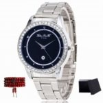 ZhouLianFa New Silver Steel Band White Diamond Ring Quartz Watch with Gift Box and Beads