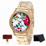 ZhouLianFa Top brand pattern gold band quartz watch with gift box and beads