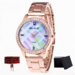 ZhouLianFa New Rose Gold Band Diamond Blue and White Quartz Watch with Gift Box and Beads
