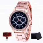 ZhouLianFa Top Brand Rose Gold Steel Ladies Creative Quartz Watch with Gift Box and Beads