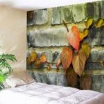 Brick Wall Leaves Printed Wall Hanging Tapestry
