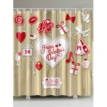 Valentine's Day Elements Print Waterproof Shower Curtain