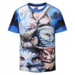 Men 3D Owl Print Leisure Round Neck Short Sleeve T-shirt