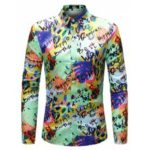 Men Stylish Letter Print Long Sleeve Button Down Shirt