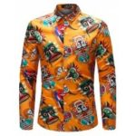 Men Stylish Print Long Sleeve Button Down Shirt