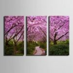 E – HOME Canvas Prints Flower Trees Hanging Wall Art 3PCS