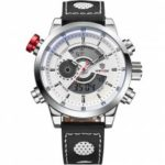 WEIDE Fashion Men's Leather Strap Watch Sports Analog Digital Display Watches