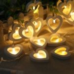 10 Lamp Wood Heart-Shaped Holiday Party Indoor and Outdoor Decorative Lights String