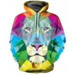 Fashion Color Square Lion Digital Print Hoodie