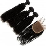 Kinky Curl 100 Percent Brazilian Human Virgin Hair Weave 4pcs with 1pc Lace Closure