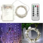 1PC 5M/10M 50/100 LEDs Battery Operated Waterproof IP65 Silver Wire String Light Party Decor Lamp With Remote Controller