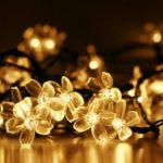 GMY Lighting Imports 50 LED Warm White Solar Flower Shaped Christmas String Lights Garden Holiday Party Decor