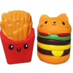 Jumbo Squishy Slow Rising Stress Relief Toy Replica Combination of French Fries with Burger Cat for Adults 2PCS