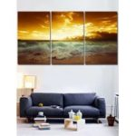 Sunset Beach Print Unframed Canvas Art Paintings
