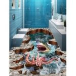 3D Shark Octopus Print Antislip Floor Stickers
