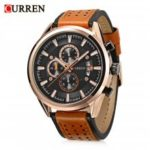 Curren 8290 Male Quartz Watch  			 			Calendar Chronograph Minute Sub-dials Men Wristwatch