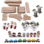 Urban Rail Transit Suits Scene Wooden Blocks Fancy Toy Train Orbit