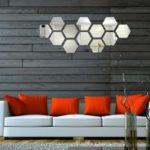 Acrylic Mirror Wall Sticker Set Hexagon Shape Mural Decals  			 			for Home Hotel Office Decorations