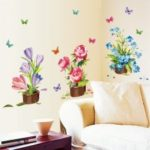 AY7274 3D Wall Sticker Flower Potting Pattern   Home Decoration