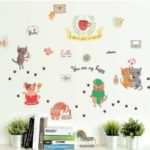 AY – BS03 Removable Wall Sticker Cute Cat Pattern  			 			Home Decoration