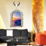 PVC Wall Sticker 3D Sunset Landscape Style Mural Decal  			 			for Home Hotel Decoration