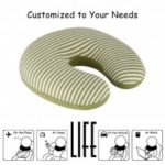 (TRAVEL PIL) LANGRIA U-Shaped Memory Foam Travel Neck Pillow – Green and White Stripes