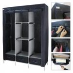 (WARDROBE 3 DOORS & 3 DRAWERS BLACK) Finether 3-Door Portable Zip Closet, Wardrobe Clothes Storage Organizer Rack with Non-Woven Fabric Cover, 8 Shelves, 3 Drawers and 2 Hanging Rods, 88 lbs. Capacity