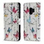 3D PU Leather Flip Wallet Stand Case for Samsung Galaxy S9 Butterfly Pattern