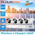 FLOUREON 4CH Wireless CCTV 1080P DVR Kit Outdoor Wifi WLAN 1.3MP 960P IP Camera Security Video Recorder NVR System EU