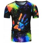Crew Neck Colorful Splatter Paint Handprint Print T-Shirt