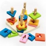 Children Puzzle Toy Multicolored Wooden Blocks Exercise Hand Eye Coordination