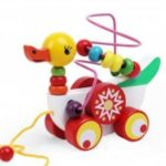 Wooden Children Animal Duckling Trailers with String Beads for Enlightenme