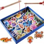 Wooden Toy Children Puzzle Early Education Magnetic 32 Double Pole Marine Biolog