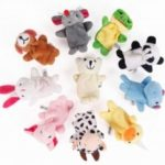 Baby Plush Toys Cartoon Happy Family Fun Animal Finger Hand Puppet 10PCS