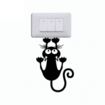 Cat Hanging On Light Switch Sticker Wall Decal Art Vinyl Cartoon Cat Stickers