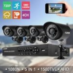 FLOUREON 1 X 4CH 1080N AHD DVR + 4 X Outdoor 1500TVL 720P 1.0MP Camera Security Kit EU
