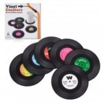 Retro Record Disc Design Drink Vinyl Coasters Non-slip Cup Mats 6PCS