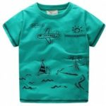 The New Children Cute Cartoon Aircraft Prints Cool and Short Sleeve T-shirt