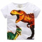 New Boy Dinosaur Pattern Printed Short Sleeve T-shirt