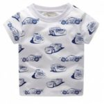 New Children's Cartoon Car Printed Short Sleeve T-shirt