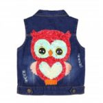 Girl Jacket Sleeveless Owl Sequins Design Denim Vest Coat
