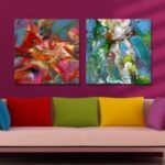 MY43-CX – 230-232 Fashion Abstract  Print Art Ready to Hang Paintings 2PCS