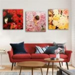 Special Design Frameless Paintings Women and Roses Print 3PCS