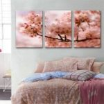 Special Design Frameless Paintings Peach Blossom in Full Bloom Print 3PCS