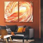 Special Design Frameless Paintings Red Tide Print 2PCS