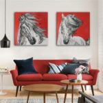 Special Design Frameless Paintings White Horse Print 2PCS
