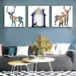 Special Design Frameless Paintings Milu Deer Print 3PCS