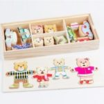 Wooden Bear Children Change The Clothes Puzzle Building Block